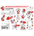 big cute set sketch of santa vector image