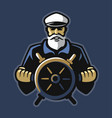 captain emblem with steering wheel on dark vector image