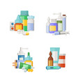 cartoon medicines potions and pills piles vector image vector image
