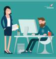 cartoon men and women in office vector image vector image