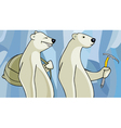 cartoon polar bears with a backpack and a pickaxe vector image