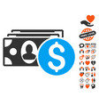 cash icon with love bonus vector image vector image