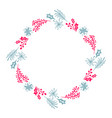 christmas hand drawn wreath red and blue floral vector image vector image