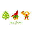 christmas icon set cartoon christmas tree vector image
