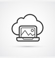 cloud laptop flat line trendy black icon eps10 vector image vector image