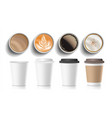 coffee cups top view plastic paper white vector image vector image