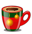 coffee in porcelain cup decorated in christmas vector image vector image