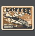 coffeeshop cafeteria coffee brewing grinder mill vector image vector image