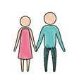 color crayon silhouette of pictogram couple vector image vector image