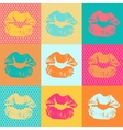 Colorful texture with kisses Pop art lips vector image