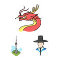 country south korea cartoon icons in set vector image