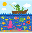 crocodile in boat catches fish vector image vector image