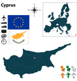 Cyprus and European Union map vector image vector image