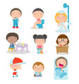 daily routines for kids set of little child daily vector image