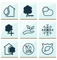 eco icons set with eco home protect nature no vector image vector image