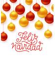 feliz navidad greeting card design vector image vector image