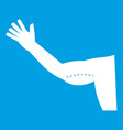 flabby arm cosmetic correction icon white vector image vector image
