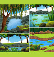 four background scenes with river in forest vector image vector image