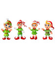 four christmas elves different poses isolated on w vector image