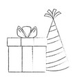 gift box present with hat vector image vector image