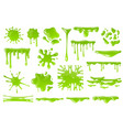 green cartoon slime goo blob splashes sticky vector image vector image