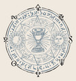 hand-drawn banner with grail and esoteric symbols vector image vector image