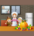 happy children and mom in the kitchen vector image vector image