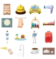 Hotel icons set cartoon style vector image vector image