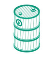 isometric outline oil barrel isolated object vector image vector image