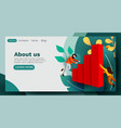 landing page people flying around growth chart vector image