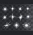 light effect white star sparks bright flare vector image