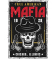 mafia or gangsters poster with bandit skull in hat vector image