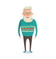 male character gray hair beard smiling man vector image