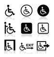 Man on wheelchair disabled emergency exit icon vector image