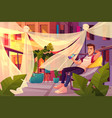 man relaxing on cafe terrace cartoon vector image
