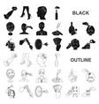 manipulation by hands black icons in set vector image
