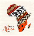 may 25 africa day card animal print map