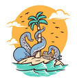 octopus on island vector image