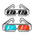 paper 3d glasses in two styles colored and black vector image vector image