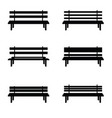 park benches set in black color vector image vector image