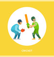 people in helmet and gloves playing cricket vector image