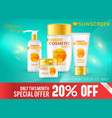 realistic sun protection cosmetic template vector image