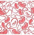 red love heart symbols grunge hand-drawn pattern vector image
