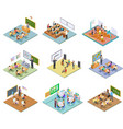school rooms isometric library dining room vector image vector image