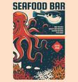 seafood bar retro poster fish and sea food menu