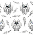 Seamless pattern with white polar owls and feather