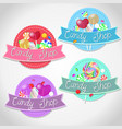 set emblems candy shop isolated emblems vector image
