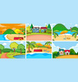 set flat nature background vector image vector image