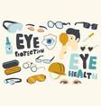 set icons eyes protection eyesight theme vector image