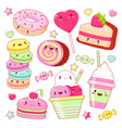 set of cute sweet icons in kawaii style vector image
